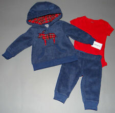 Baby boy clothes, NEWBORN, Carter's thick soft fleece hoodie&pants,red bodysuit