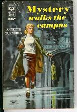 MYSTERY WALKS THE CAMPUS by Turngren rare US Berkley gga college pulp vintage pb