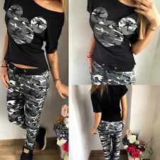 Womens Mickey Minnie 2Pcs Tracksuit Set Casual Tops Sweatshirt Pants Sports Suit