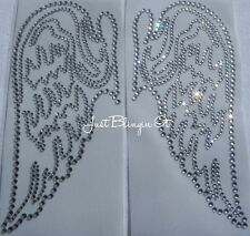 Angel Wings Small Hot Fix Iron On Rhinestone Transfer Bling MADE IN USA