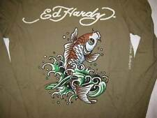 ED HARDY womens size XS long sleeved army green koi fish t-shirt tee top new