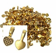 200 Glue on Heart Bails Pendant Hanger Gold Tone Plated 16x8mm