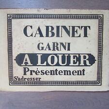 AFFICHE ANCIENNE 1810 CABINET GARNI A LOUER MAISON IMMOBILIER IMPRIMERIE