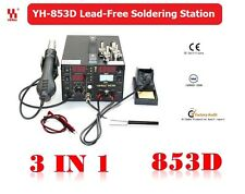 YIHUA 3 in 1 Soldering Station SMD Rework Iron Hot Air Gun DC Power Supply 853D