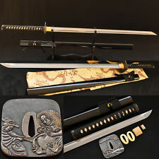 Handmade Japanese Samurai Sword NINJA Folded Steel Very Sharp Blade Can Cut Tree