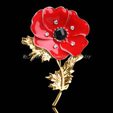 Gold Red Flower Rhinestone Poppy Brooches Pins Bonquet Crystal Badge Party Gifts