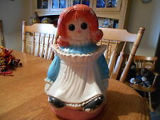 "Vintage Raggedy Ann Doll Ceramic Bank Still Money Coin Piggy 13"" Retro"