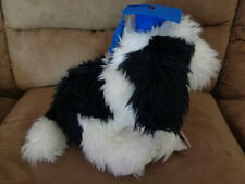 "Graduation Puppy 9"" Top Dog Black White Fluffy with Blue Cap Hallmark Cards"