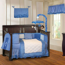10 Piece Minky Blue Boys Ultra-Soft Baby Crib Bedding set with Musical Mobile