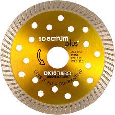 NEW Spectrum DX10 Turbo Diamond Blade 115 x 22.2mm Each