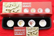 2012 Australian Perth Mint Year of Dragon 1oz Silver 4-coin Box Typeset.