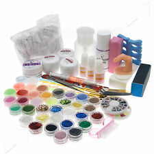 Acrylic Powder Full Kit 36pcs Nail Art UV GEL Primer Liquid Brush W355