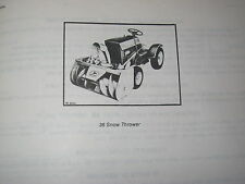 ORIGINAL JOHN DEERE 36 LAWN TRACTOR SNOW THROWER PARTS CATALOG MANUAL
