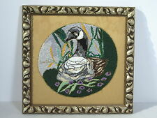 Picture Canada Goose Embroidered Frame with Fruit Signed Bird Gold Thread