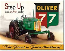 Oliver 77 TIN SIGN vtg antique tractor metal poster wall decor farm ad art 1861