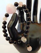 HAND CRAFTED STRETCH BRACELET-PINK ROSE QUARTZ BLACK GLASS BEADS SILVER BEAD CAP