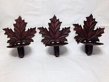 3 Heavy Bronze Color Metal Maple Leaf Pillar/Glass Votive Candle Holders Sconces