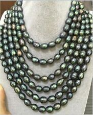 stunning 12-13mm natural tahitian peacock green   necklace 48inch