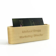Customize Print name Business Card Stand Holder Breech Wood personalize gift