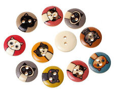 "Lot of 10 CARTOON CAT 2-hole Wooden Buttons 1/2"" (15mm) Scrapbook Doll (4483)"