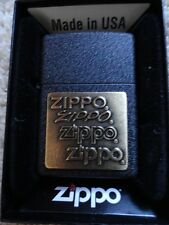 Zippo Lighter black crackle finish w/ZIPPO engraved in Bronze on front  NEW