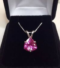 BEAUTIFUL Pink Sapphire Trillion Solitaire Pendant Sterling Silver Necklace NWT
