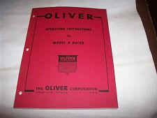 Original Oliver Model 8 Hay Baler Operator's Manual Unused Condition
