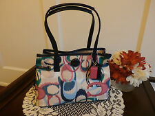 Coach Signature Stripe Ikat Print Mini Carryall NWT F24447