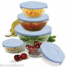 Norpro 1018 Nesting Glass Storage Mixing Bowl 10 Piece Set With Blue Lids