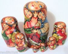 "One of a Kind Hand Painted 7pcs Russian Nesting Doll ""Children"" by Guseva"