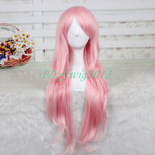 SUPER SONICO 85cm Long Straight Curly Pink Synthetic Cosplay Wig CC05