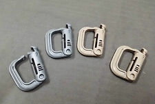Lot of 4 each , ITW Grimlock Locking D-RING Clip gray and Coyote brown
