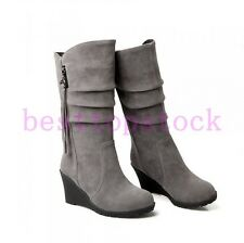 New Womens Ladies Faux Suede Wedge Heels Side Zip Mid Calf Boots Shoes UK Sizes