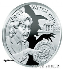 Wizards of US # 4 - 1oz 2016 Vote Witch 2016 Proof TRUMP Silver Shield HALLOWEEN