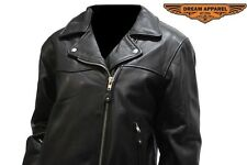 Women's Naked Cowhide Leather Motorcycle Jacket