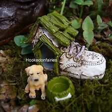 Baby Shoe Boot Dog House and Bowl  Miniature Fairy Hobbit Gnome Garden GO 17008