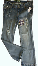 "NWT AMETHYST Aubrey Distressed Jeans Mid Rise 20"" Fit & Flare Junior Plus 16"