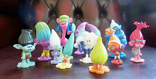 Trolls Cake Toppers 12 Figurines Plus A Free Book and Playmat - New