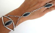 Sterling Silver Black Onyx and Rain Drop Elegant Slave Bracelet - Ring Size 7.75