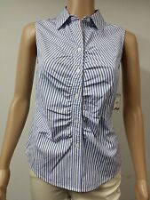 NEW FAST to AUS - Anne Klein - Sleeveless Striped Blouse Size 6 - Navy Blue $69