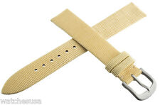 Authentic Locman 16mm Beige Ribbed Leather Watch Band Strap with Buckle