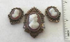 Antique Victorian 14k Gold Cameo Pin Earrings Set