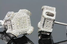 .31 CARAT WHITE GOLD FINISH MENS WOMENS 9mm 100% REAL DIAMONDS EARRINGS STUDS