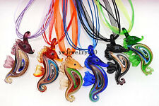 Wholesale Bulk 12pcs Sea Horse Murano Glass Pendants Silk Silver T Necklace FREE