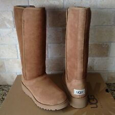 UGG KARA CLASSIC TALL SLIM CHESTNUT SUEDE/ SHEEPSKIN BOOT US 12 Womens