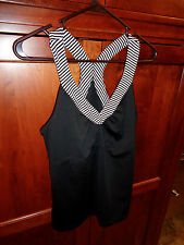 In Motion New York & Company Black Athletic Suit w/Racer Back Shirt NWOT L