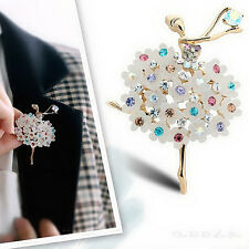 Vintage Gold Alloy Rhinestone Crystal Flower Wedding Bridal Bouquet Brooch Pin
