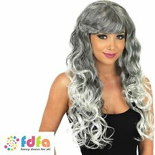 LONG GREY CURLY SEXY WITCH CRAZY LADY HALLOWEEN WIG - womens ladies fancy dress
