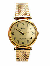 STAINLESS STEEL GOLD FINISH ROUND CASE METALBAND GOLD FACE ANALOG QUARTZ WATCH