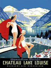 TRAVEL TOURISM CHATEAU LAKE LOUISE ROCKY MOUNTAINS CANADA POSTER PRINT LV4159